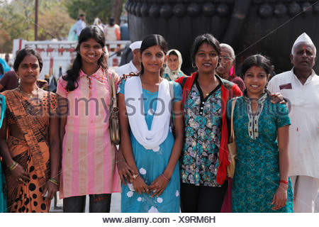 Group of Indian women, Chamundi Hill, Mysore, Karnataka, South India, India, South Asia, Asia - Stock Photo