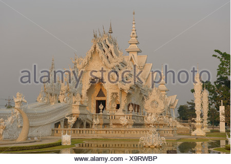 Wat Rong Khun, White Temple, Chiang Rai, Thailand, Asia, religion - Stock Photo