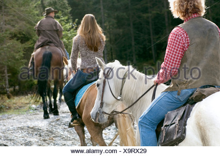Austria, Salzburger Land, Altenmarkt, Young people horse riding, rear view - Stock Photo