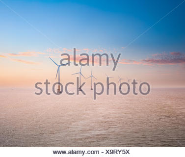 offshore wind power plants in sunset - Stock Photo
