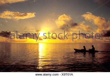 kayaking at sunset, French Polynesia