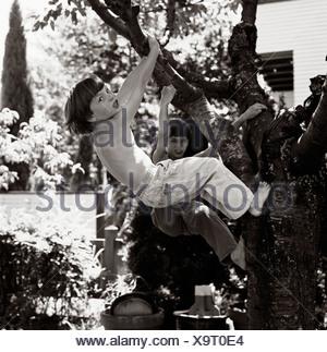 Young boys climbing tree - Stock Photo