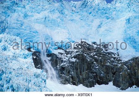 Northwestern Glacier, Kenai Fjords, National Park, Alaska, USA, glacier, ice, snow, cold, blue, crack, snowing, fall, water, roc - Stock Photo