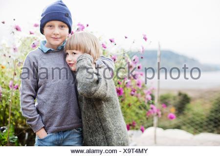 Boys in organic garden - Stock Photo