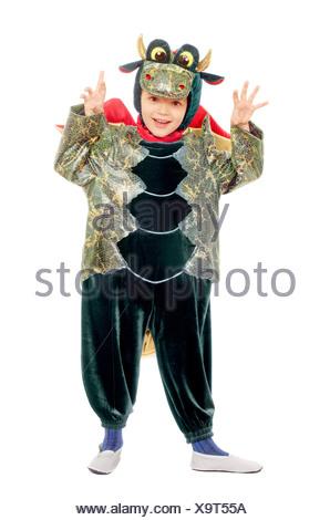 Joyful kid in a dragon costume - Stock Photo