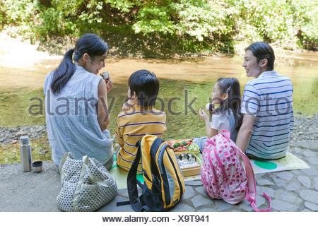 Family Enjoying Picnic - Stock Photo