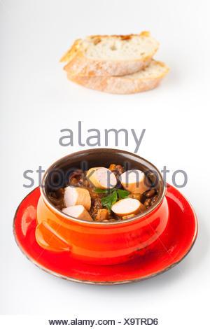 Linsensuppe mit Wiener - Stock Photo