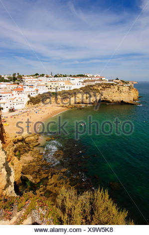 Algarve, swimming, Carvoeiro, cliffs, sea, Portugal, Europe, beach, seashore, coast - Stock Photo