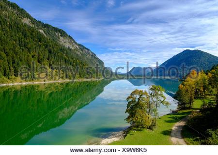 Stausee Sylvensteinspeicher, Sylvensteinsee, Isartal, Obere Isar,  Karwendel, Bayern, Oberbayern, Deutschland, - Stock Photo