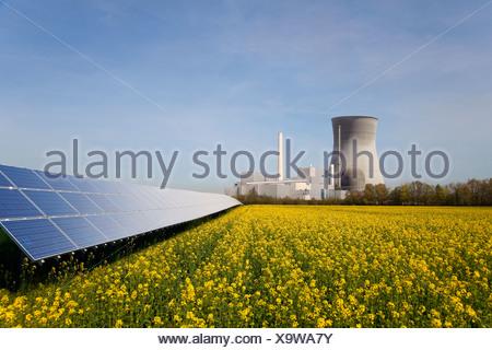 Solar plant and atomic power station - Stock Photo