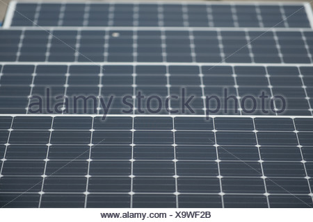Berlin, Germany, solar panels on the roof of Berlin's large market - Stock Photo