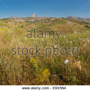 Hilly landscape in central Sicily - Stock Photo