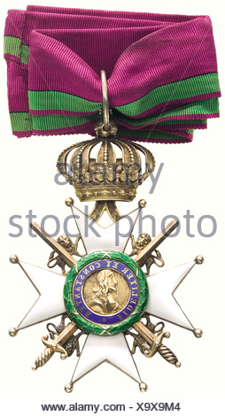 Princely-Saxon House Order of Ernestine., A Commander's Cross with Swords, French crossguards, laurel wreath. Silver, gilt with sewn neck ribbon, in a red and gold stamped presentation case (OEK 2469). historic, historical, people, 19th century, medal, decoration, medals, decorations, badge of honour, badge of honor, badges of honour, badges of honor, object, objects, stills, clipping, clippings, cut out, cut-out, cut-outs, Additional-Rights-Clearances-NA - Stock Photo