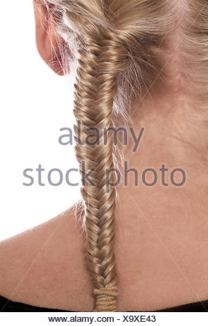 Instructions double fishbone plait step 2 of 2 - Stock Photo