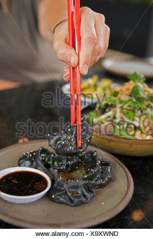 Meals prepared at an Asian fusion restaurant in the North Asheville neighborhood of Asheville, North Carolina. - Stock Photo