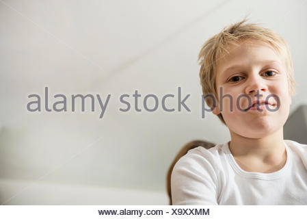 Young boy 10 years old portrait t-shirt smiling - Stock Photo