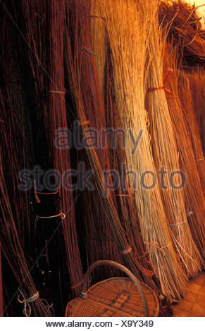 bundles of willow for basket making - Stock Photo