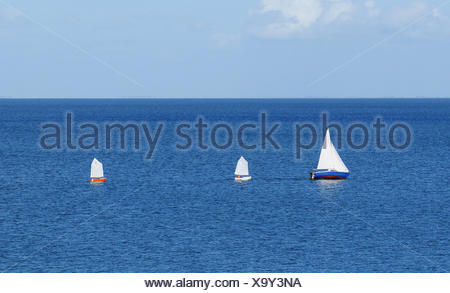 water north sea salt water sea ocean sail sailing boat sailboat yachting rowing - Stock Photo