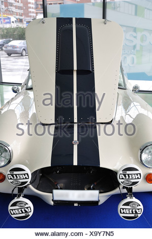 Front view with hood up sports car classic AC Cobra, Carroll Shelby - Stock Photo