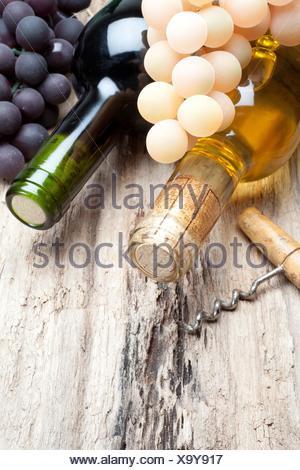 Red wine and white wine. - Stock Photo