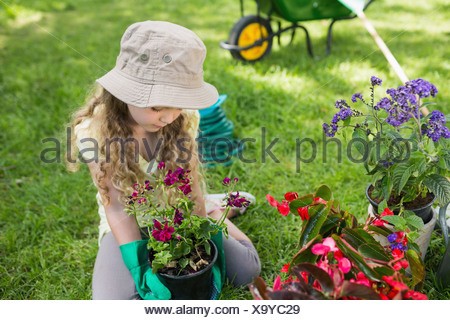 Little young girl engaged in gardening - Stock Photo