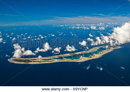 Aerial view of Millennium Atoll in the Southern Line Islands. - Stock Photo
