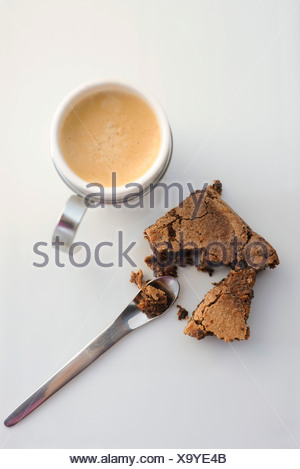 Brownie with hot drink - Stock Photo