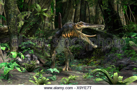 3D Rendering Dinosaur Spinosaurus - Stock Photo