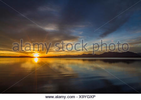eevening glow over lake Chiemsee with Alps, Germany, Bavaria, Lake Chiemsee, Seebruck - Stock Photo