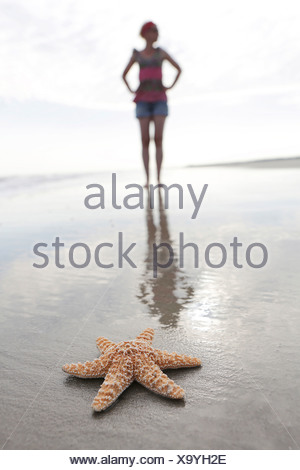Germany, Lower Saxony, East Frisia, Langeoog, sea fish and silhouette of a woman at the beach - Stock Photo