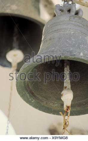 Bells, close up, Still life, Greece, Cyclades islands, island, the Cyclades, Thera, Thira, Santorini, Santorin, church bells, bell, in 1809 - Stock Photo