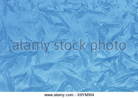 Detail, ice, frostwork, windows, window pane, glass, windowpane, cold, lines, macro, pattern, close-up, to snowy stars, Switzerl - Stock Photo