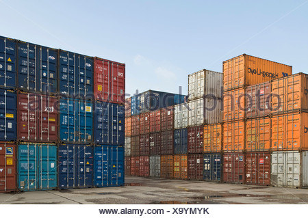 Bonn Container Terminal, overlooking stacked oversea containers in the depot, Bonn harbour, North Rhine-Westphalia, Germany, Eu - Stock Photo