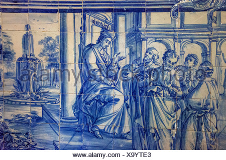 Aristotle teaching, azulejos tiles in the old University of Evora, Colégio do Espírito Santo, Évora, Évora District - Stock Photo