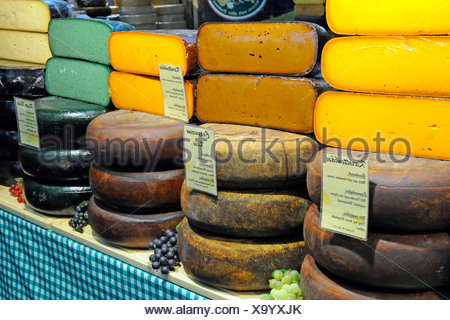 Exotic kinds of cheese on the fair 'Gruene Woche' in Berlin - Stock Photo