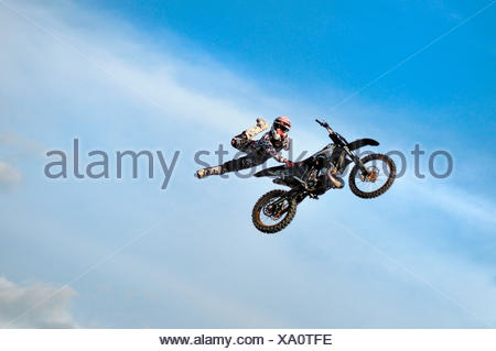 Freestyle motocross performance by italian DABOOT team;Emilia Romagna, Italy - Stock Photo