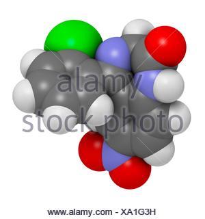 Clonazepam benzodiazepine drug molecule - Stock Photo