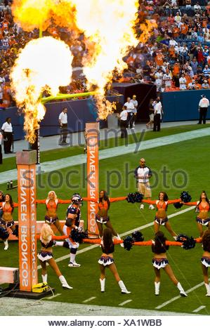Denver Broncos Cheerleaders, Denver Broncos vs. Pittsburgh Steelers NFL football game, Invesco Field at Mile High (stadium), - Stock Photo