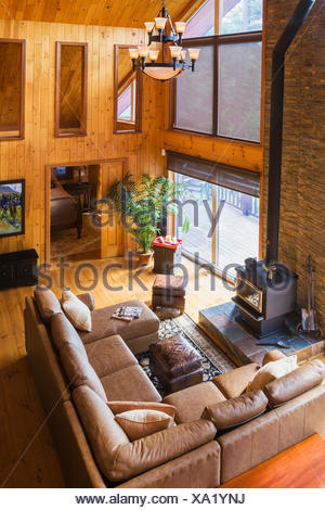 Toip View Of Tan Leather Sectional Sofa And Wood Burning Stove In