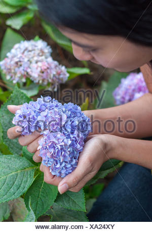 Young woman holding heart shaped flowers in her hand - Stock Photo