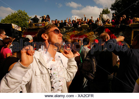 Zoned-out techno fan during the Highway to Love 2008 Love Parade in Dortmund, North Rhine-Westphalia, Germany, Europe - Stock Photo