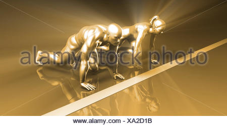 Determined Woman Fighting Against Men - Stock Photo