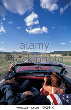 Pink Cadillac, People, driving, Albuquerque, New Mexico, USA, United States, America, 1962, car, convertible, near Grants - Stock Photo