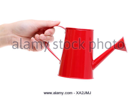 Hand holding red watering can isolated on white background - Stock Photo