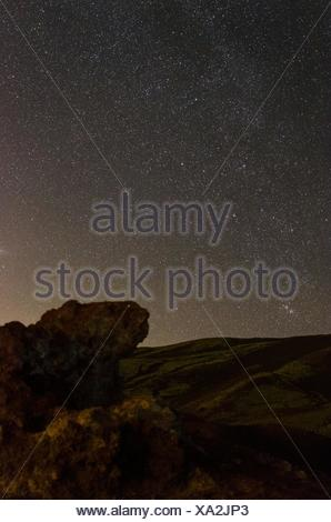 Scenic View Of Field Against Star Field At Night - Stock Photo