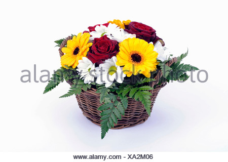 Bouquet of roses, daisies, gerbera, ferns, arranged in a basket - Stock Photo