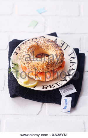Salmon and cream cheese bagel sandwich - Stock Photo