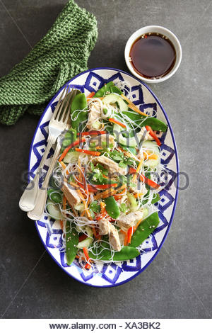 Thai Chicken Salad with Rice Noodles .Top view - Stock Photo