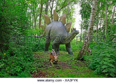 Stegosaurus (Stegosaurus), with juvenile in a forest - Stock Photo