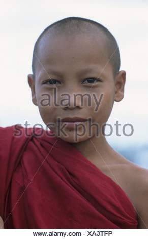 Buddhist novice, Myanmar, South-East Asia, Asia - Stock Photo